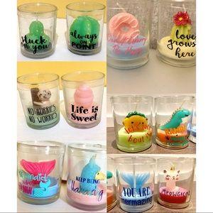 🆕Cute candles 3oz each w glass jar